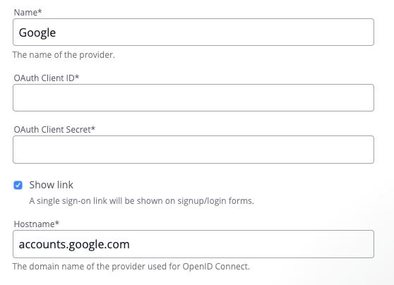 Google configuration